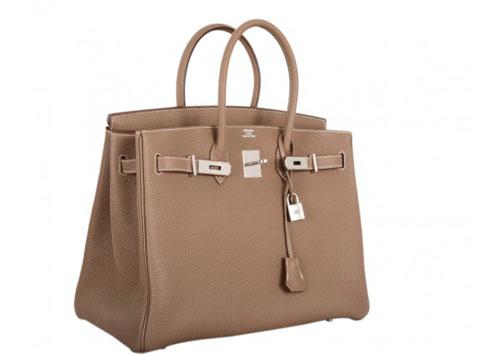 Imitation Hermes Birkin Bag Etoupe 35cm Clemence Leather Palladium Hardware Grey