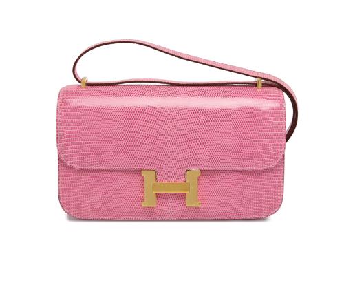 Hermes Constance Elan Pink Lizard with Gold