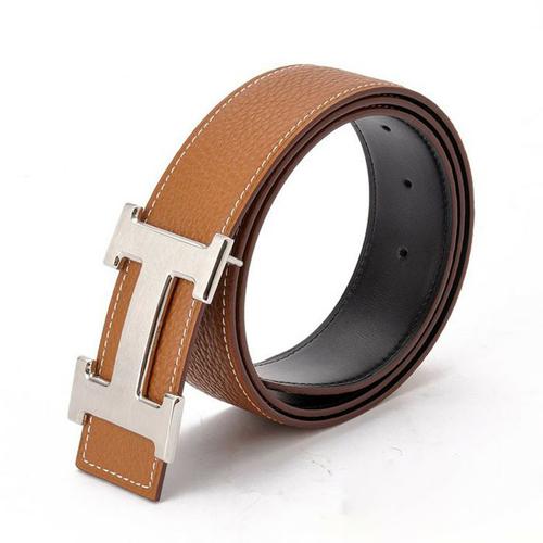 fake Hermes h belt back side leather is black with h silver buckle