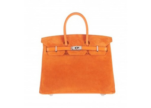 Replica Limited Edition Hermes Birkin 25cm Orange Box Calf And Suede Doublis
