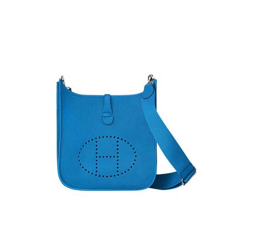 hermes Evelyne handbags bleu Zanzibar