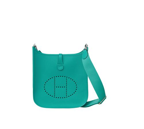hermes Evelyne handbags bleu paon