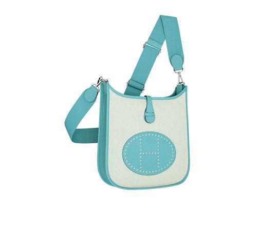 hermes Evelyne handbags ecru atoll blue