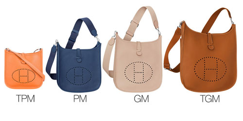 hermes evelyne handbag sizes